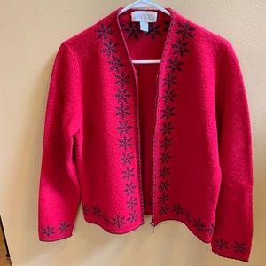 Holiday zippered cardigan